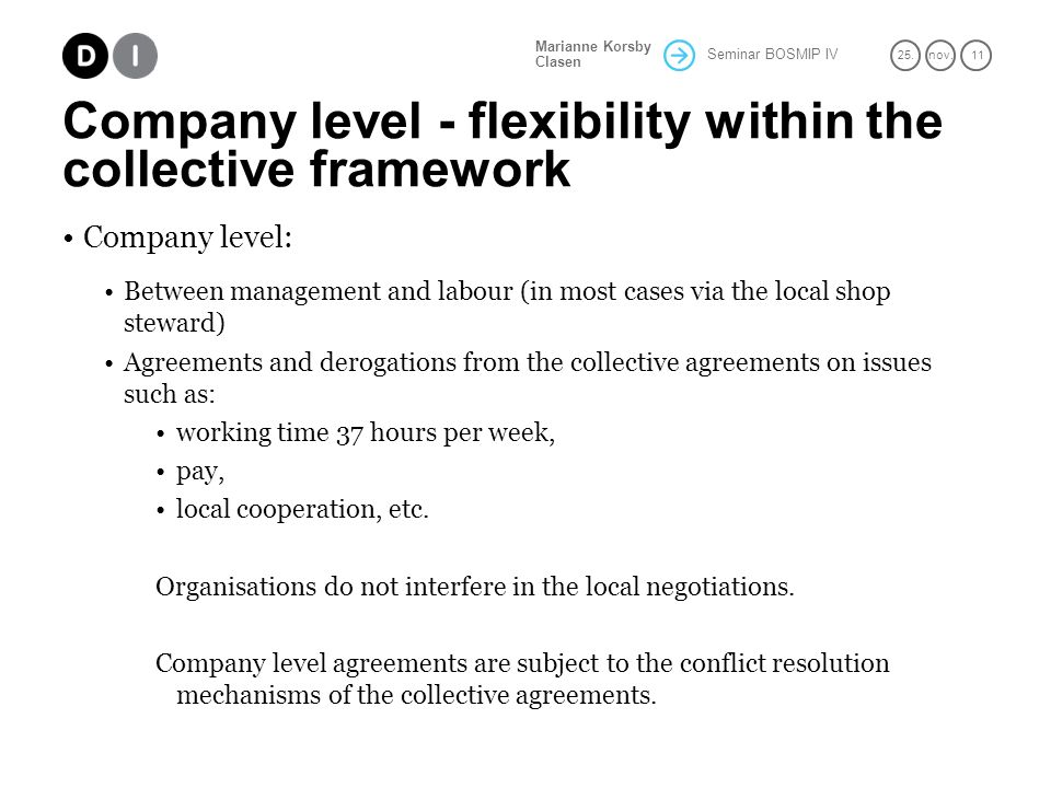 Seminar BOSMIP IV 25.nov. 11 Marianne Korsby Clasen Company level - flexibility within the collective framework Company level: Between management and