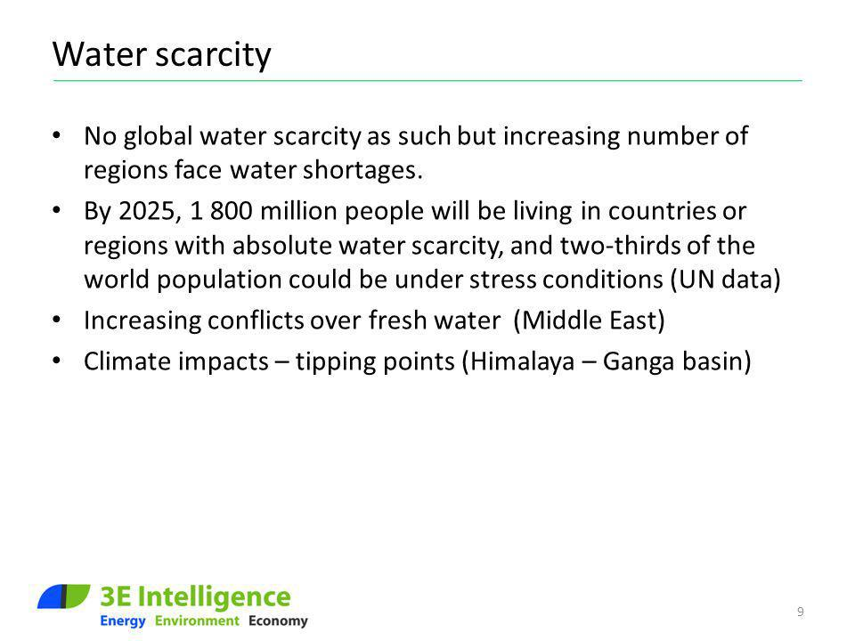 Water scarcity No global water scarcity as such but increasing number of regions face water shortages. By 2025, 1 800 million people will be living in