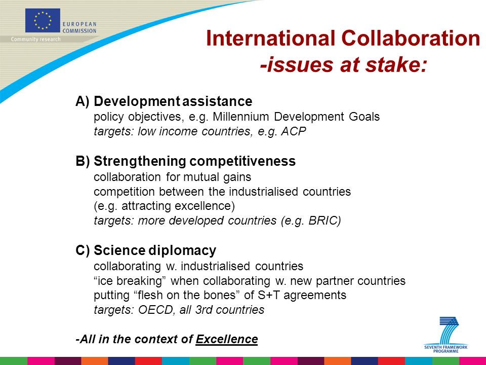 Indridi Benediktsson International Collaboration -issues at stake: A)Development assistance policy objectives, e.g.
