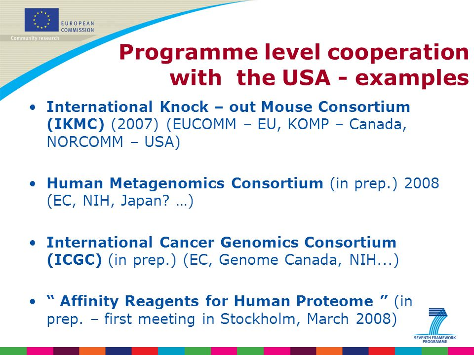 Indridi Benediktsson Programme level cooperation with the USA - examples International Knock – out Mouse Consortium (IKMC) (2007) (EUCOMM – EU, KOMP – Canada, NORCOMM – USA) Human Metagenomics Consortium (in prep.) 2008 (EC, NIH, Japan.