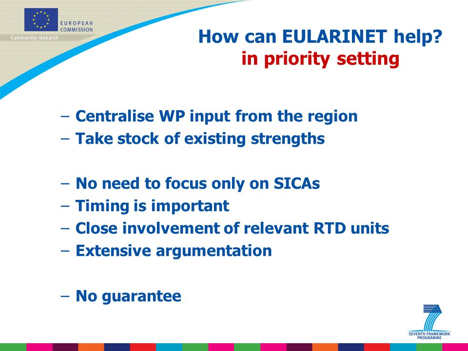 Indridi Benediktsson How can EULARINET help? in priority setting –Centralise WP input from the region –Take stock of existing strengths –No need to fo