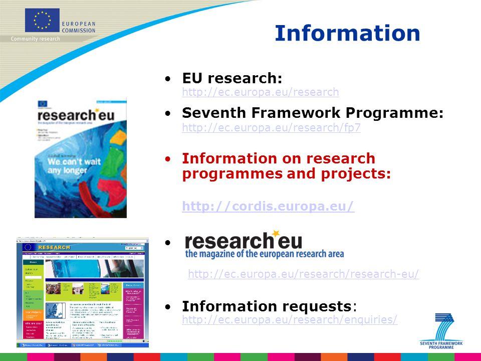 Indridi Benediktsson Information EU research: http://ec.europa.eu/research http://ec.europa.eu/research Seventh Framework Programme: http://ec.europa.eu/research/fp7 http://ec.europa.eu/research/fp7 Information on research programmes and projects: http://cordis.europa.eu/ http://ec.europa.eu/research/research-eu/ Information requests: http://ec.europa.eu/research/enquiries/ http://ec.europa.eu/research/enquiries/