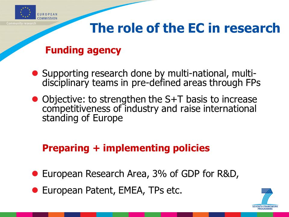 Indridi Benediktsson The role of the EC in research Funding agency lSupporting research done by multi-national, multi- disciplinary teams in pre-defined areas through FPs lObjective: to strengthen the S+T basis to increase competitiveness of industry and raise international standing of Europe Preparing + implementing policies lEuropean Research Area, 3% of GDP for R&D, lEuropean Patent, EMEA, TPs etc.