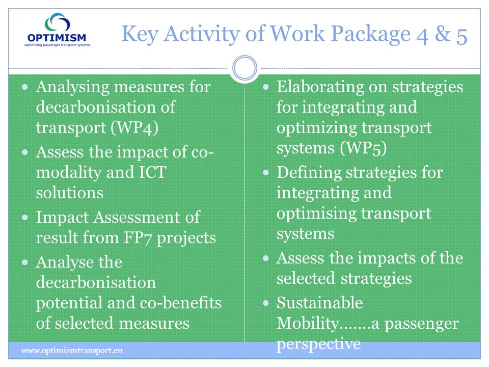 Key Activity of Work Package 4 & 5 Analysing measures for decarbonisation of transport (WP4) Assess the impact of co- modality and ICT solutions Impact Assessment of result from FP7 projects Analyse the decarbonisation potential and co-benefits of selected measures Elaborating on strategies for integrating and optimizing transport systems (WP5) Defining strategies for integrating and optimising transport systems Assess the impacts of the selected strategies Sustainable Mobility.......a passenger perspective www.optimismtransport.eu