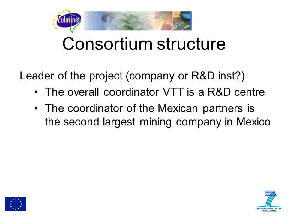 Consortium structure Leader of the project (company or R&D inst ) The overall coordinator VTT is a R&D centre The coordinator of the Mexican partners is the second largest mining company in Mexico