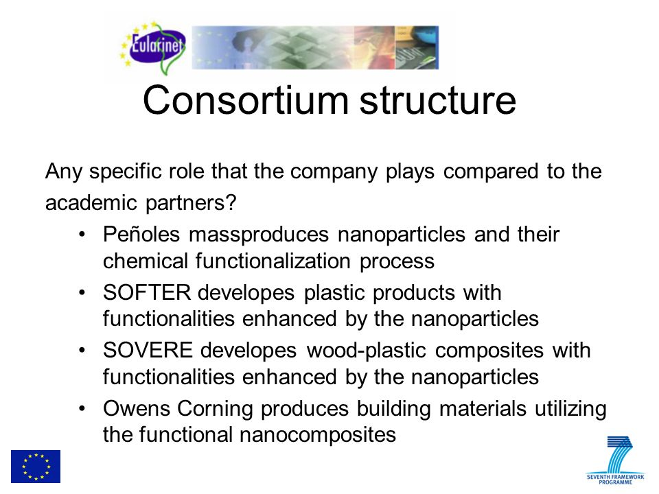 Consortium structure Any specific role that the company plays compared to the academic partners.