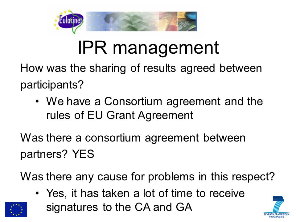 IPR management How was the sharing of results agreed between participants.