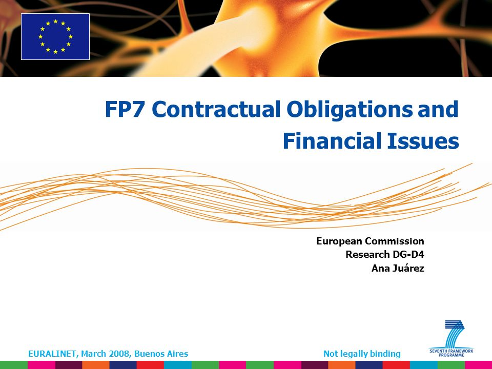 EURALINET, March 2008, Buenos AiresNot legally binding European Commission Research DG-D4 Ana Juárez FP7 Contractual Obligations and Financial Issues