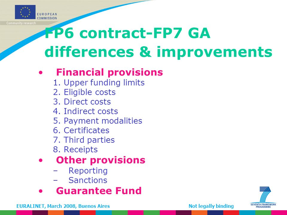 EURALINET, March 2008, Buenos AiresNot legally binding FP6 contract-FP7 GA differences & improvements Financial provisions 1.