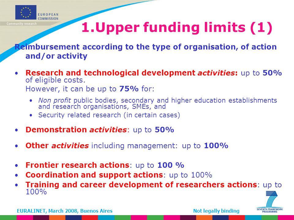 EURALINET, March 2008, Buenos AiresNot legally binding 1.Upper funding limits (1) Reimbursement according to the type of organisation, of action and/or activity Research and technological development activities: up to 50% of eligible costs.