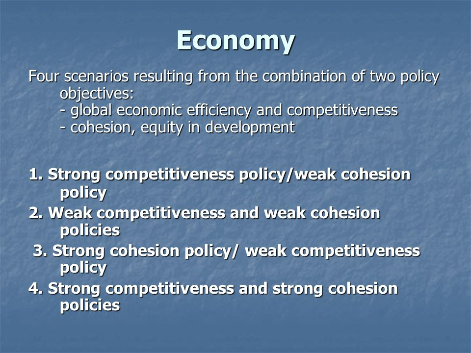 Economy Four scenarios resulting from the combination of two policy objectives: - global economic efficiency and competitiveness - cohesion, equity in