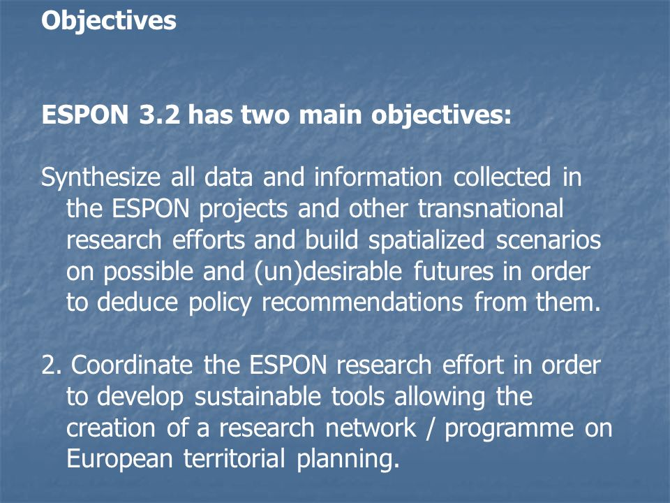 Hypotheses for the desirableroll-back scenario: Two possibilities: - Starting from an ideal image of the European territory and investigating the possibilities of achieving it through policies; - or starting from a set of policies combining cohesion and competitiveness and investigating its impacts on the territory until the final image looks desirable