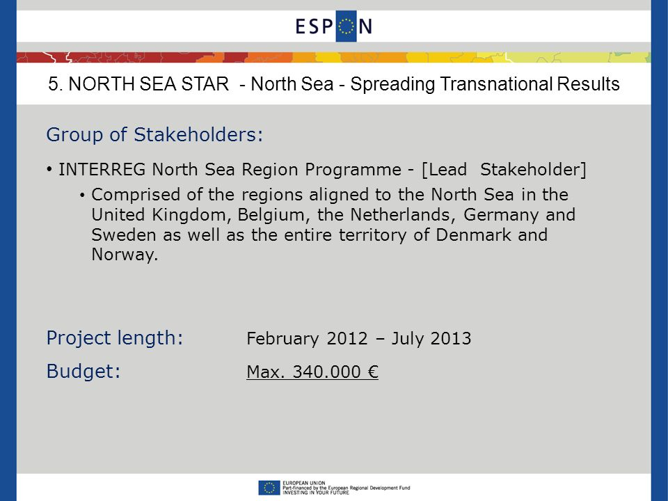 Group of Stakeholders: INTERREG North Sea Region Programme - [Lead Stakeholder] Comprised of the regions aligned to the North Sea in the United Kingdo