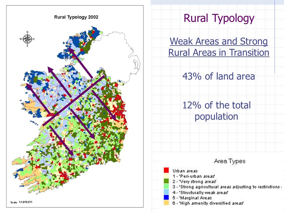12% of the total population Rural Typology 43% of land area Weak Areas and Strong Rural Areas in Transition