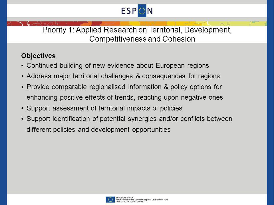 Priority 1: Applied Research on Territorial, Development, Competitiveness and Cohesion Objectives Continued building of new evidence about European re