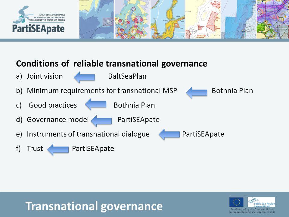 Part-financed by the European Union (European Regional Development Fund) Transnational governance Conditions of reliable transnational governance a)Jo