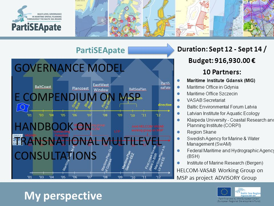 Part-financed by the European Union (European Regional Development Fund) Duration: Sept 12 - Sept 14 / Budget: 916,930.00 10 Partners: Maritime Instit