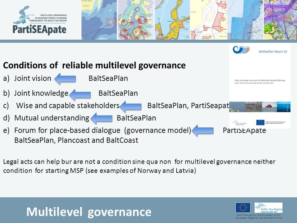 Part-financed by the European Union (European Regional Development Fund) Multilevel governance Conditions of reliable multilevel governance a)Joint vi