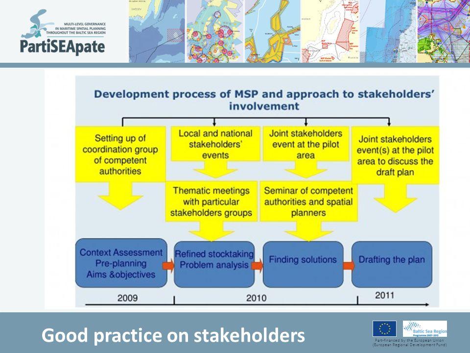 Part-financed by the European Union (European Regional Development Fund) Good practice on stakeholders