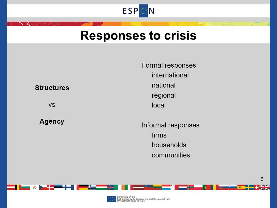 Formal responses international national regional local Informal responses firms households communities Responses to crisis 5 Structures vs Agency