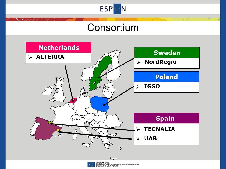 Consortium Sweden NordRegio Sweden NordRegio Poland IGSO Poland IGSO TECNALIA Spain TECNALIA Netherlands ALTERRA Netherlands ALTERRA UAB ETC-LUSI UAB