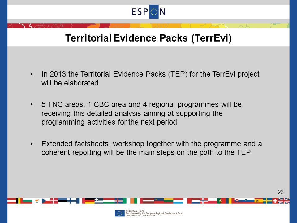 In 2013 the Territorial Evidence Packs (TEP) for the TerrEvi project will be elaborated 5 TNC areas, 1 CBC area and 4 regional programmes will be rece