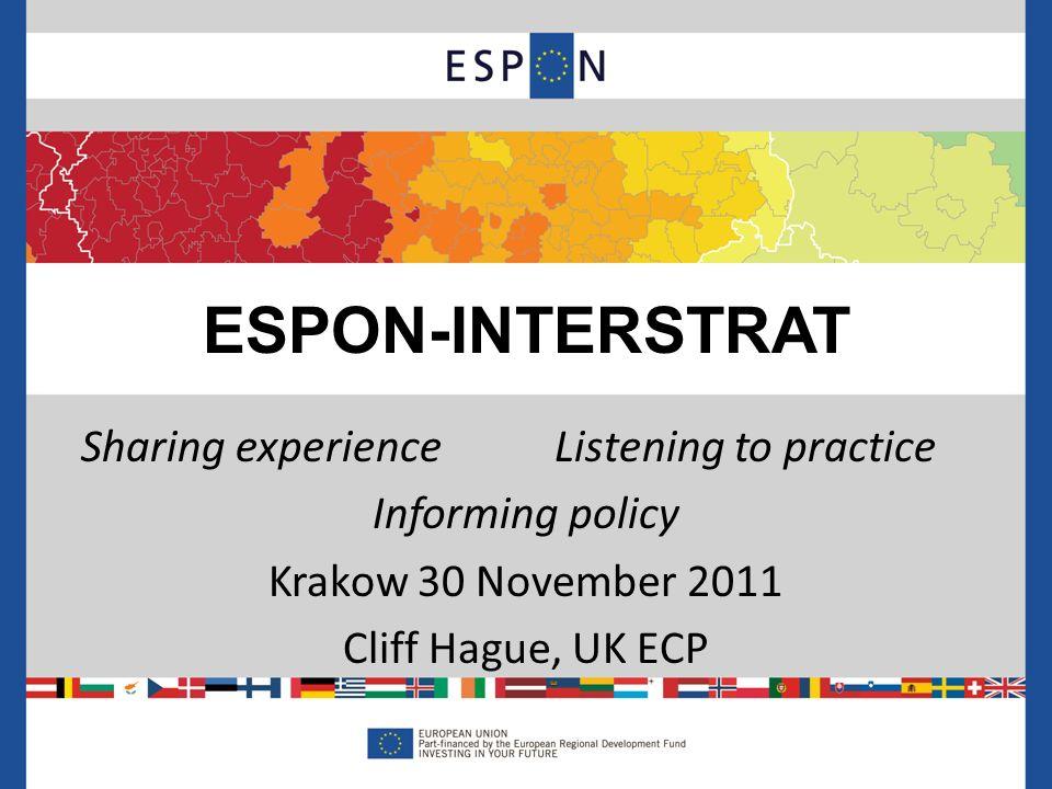 Sharing experienceListening to practice Informing policy Krakow 30 November 2011 Cliff Hague, UK ECP ESPON-INTERSTRAT