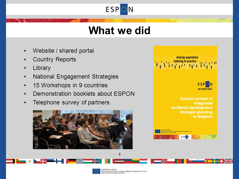 Website / shared portal Country Reports Library National Engagement Strategies 15 Workshops in 9 countries Demonstration booklets about ESPON Telephone survey of partners.