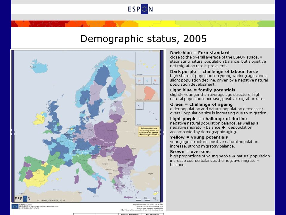 Demographic status, 2005 Dark-blue = Euro standard close to the overall average of the ESPON space.