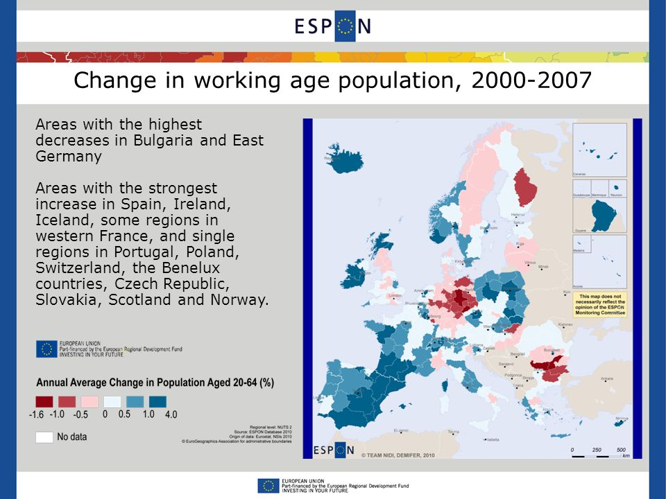 Change in working age population, Areas with the highest decreases in Bulgaria and East Germany Areas with the strongest increase in Spain, Ireland, Iceland, some regions in western France, and single regions in Portugal, Poland, Switzerland, the Benelux countries, Czech Republic, Slovakia, Scotland and Norway.