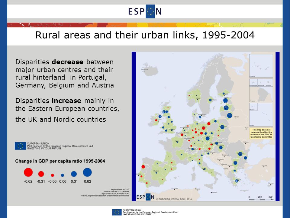Rural areas and their urban links, Disparities decrease between major urban centres and their rural hinterland in Portugal, Germany, Belgium and Austria Disparities increase mainly in the Eastern European countries, the UK and Nordic countries