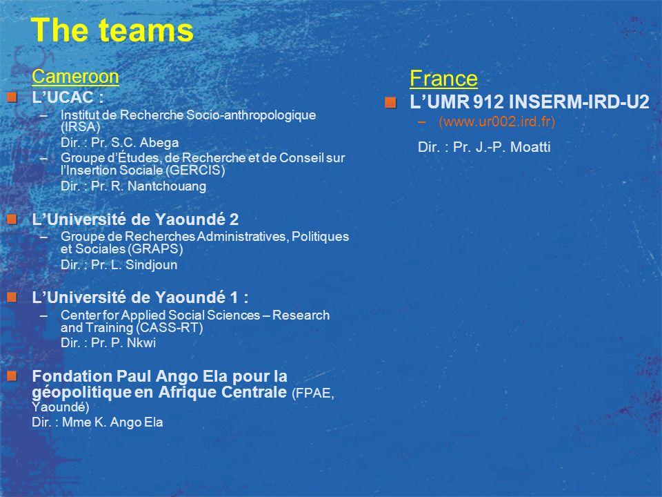 The teams Cameroon LUCAC : –Institut de Recherche Socio-anthropologique (IRSA) Dir.