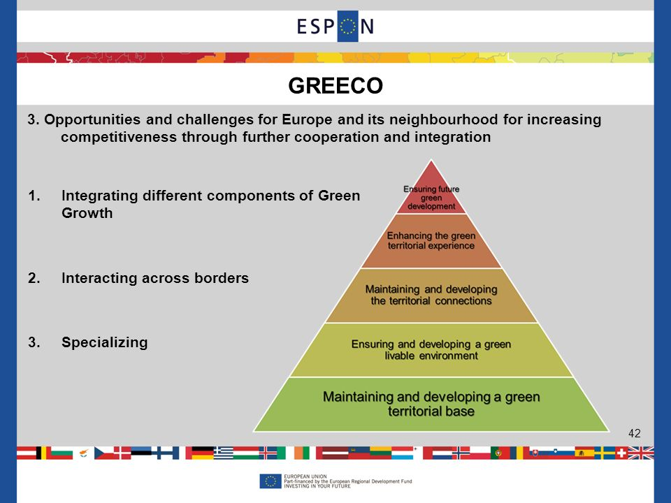 GREECO 42 3. Opportunities and challenges for Europe and its neighbourhood for increasing competitiveness through further cooperation and integration