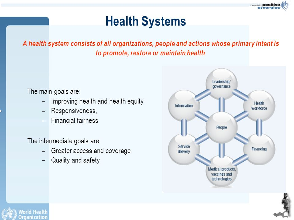 Health Systems The main goals are: –Improving health and health equity –Responsiveness, –Financial fairness The intermediate goals are: –Greater access and coverage –Quality and safety A health system consists of all organizations, people and actions whose primary intent is to promote, restore or maintain health