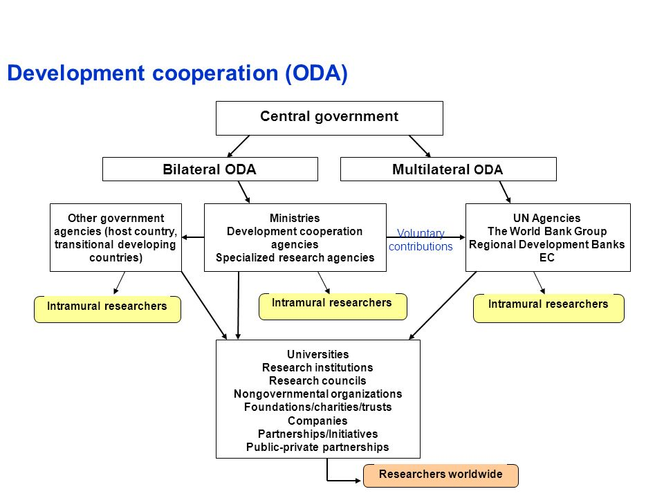 Central government Bilateral ODAMultilateral ODA Other government agencies (host country, transitional developing countries) UN Agencies The World Ban