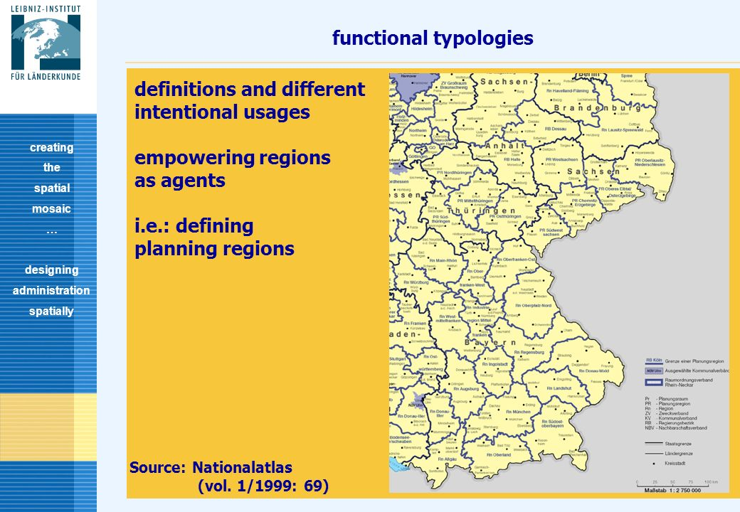8 functional typologies creating the spatial mosaic … designing administration spatially definitions and different intentional usages empowering regions as agents i.e.: defining planning regions Source: Nationalatlas (vol.