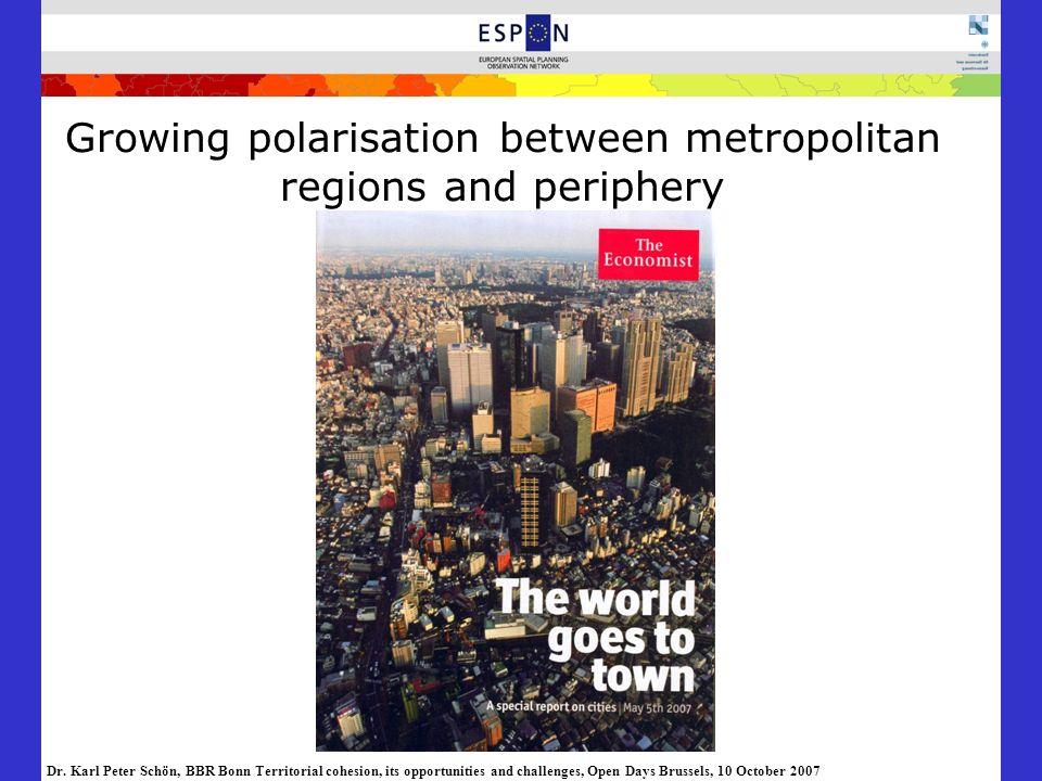 Growing polarisation between metropolitan regions and periphery