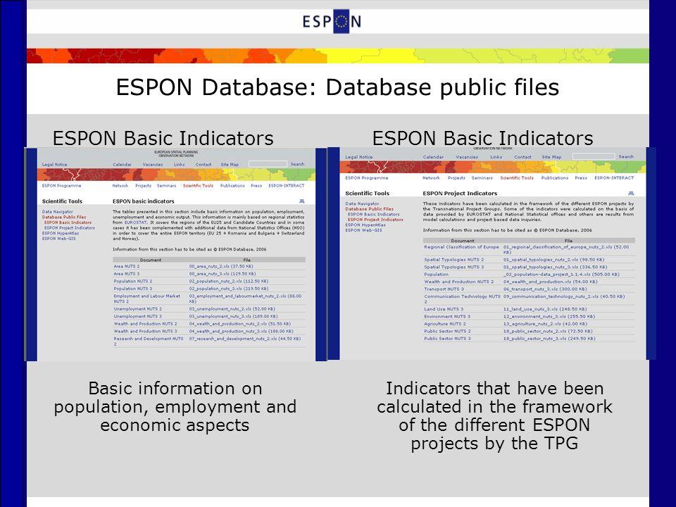 ESPON Database: Database public files ESPON Basic Indicators Basic information on population, employment and economic aspects Indicators that have bee