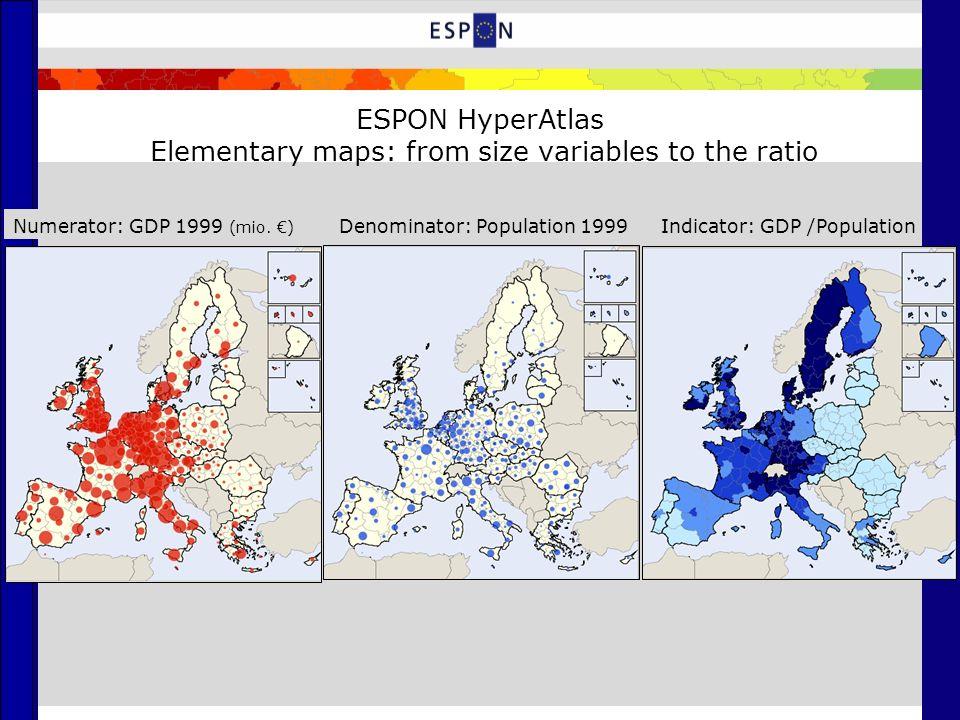 ESPON HyperAtlas Multiscalar representation: deviations to 3 contexts Global Deviation: EU 27Local deviation: contiguityMedium Deviation: NUTS 0
