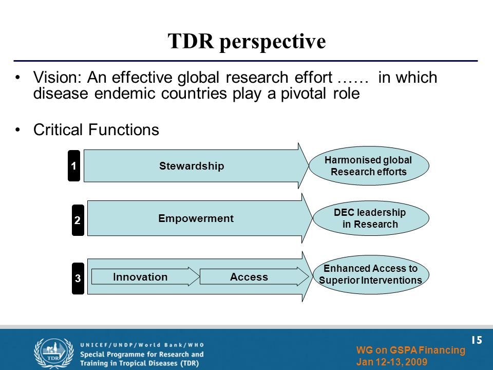15 WG on GSPA Financing Jan 12-13, 2009 TDR perspective Vision: An effective global research effort …… in which disease endemic countries play a pivot