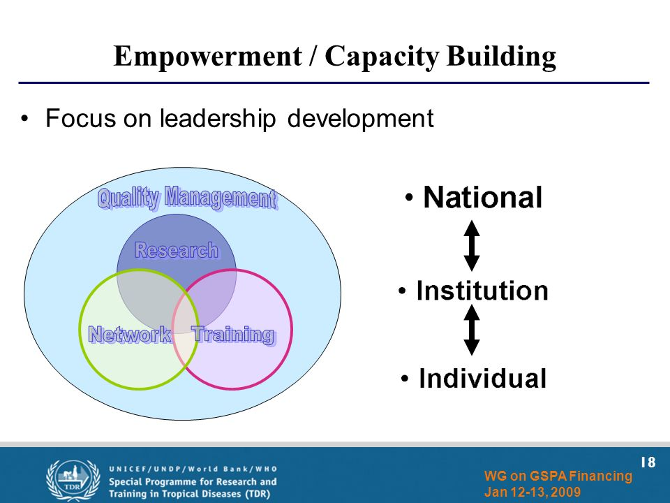 18 WG on GSPA Financing Jan 12-13, 2009 Empowerment / Capacity Building Focus on leadership development