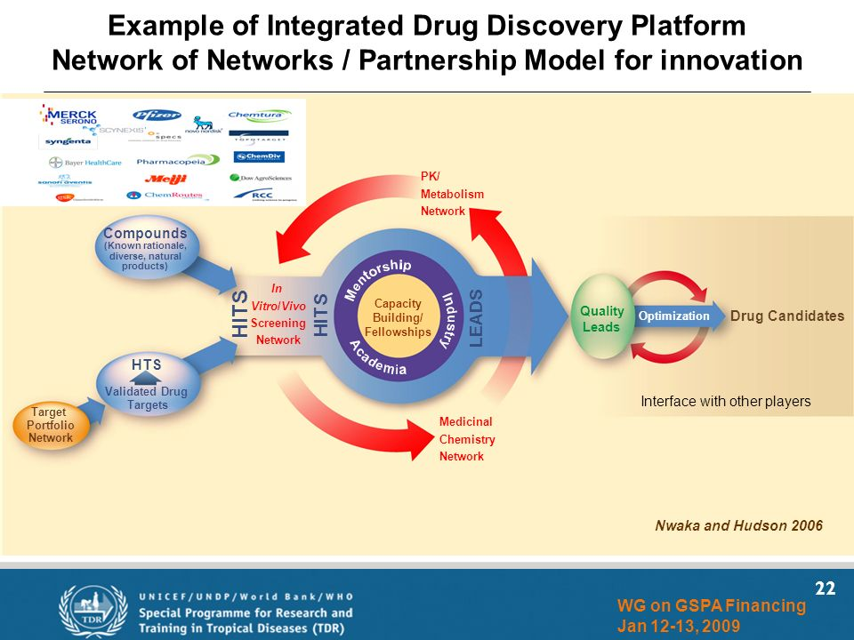 22 WG on GSPA Financing Jan 12-13, 2009 Compounds (Known rationale, diverse, natural products) Validated Drug Targets HTS Target Portfolio Network HITS Capacity Building/ Fellowships Quality Leads Optimization Drug Candidates In Vitro/Vivo Screening Network Medicinal Chemistry Network PK/ Metabolism Network LEADS Example of Integrated Drug Discovery Platform Network of Networks / Partnership Model for innovation Nwaka and Hudson 2006 HITS Interface with other players