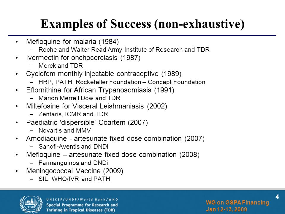 4 WG on GSPA Financing Jan 12-13, 2009 Examples of Success (non-exhaustive) Mefloquine for malaria (1984) –Roche and Walter Read Army Institute of Research and TDR Ivermectin for onchocerciasis (1987) –Merck and TDR Cyclofem monthly injectable contraceptive (1989) –HRP, PATH, Rockefeller Foundation – Concept Foundation Eflornithine for African Trypanosomiasis (1991) –Marion Merrell Dow and TDR Miltefosine for Visceral Leishmaniasis (2002) –Zentaris, ICMR and TDR Paediatric dispersible Coartem (2007) –Novartis and MMV Amodiaquine - artesunate fixed dose combination (2007) –Sanofi-Aventis and DNDi Mefloquine – artesunate fixed dose combination (2008) –Farmanguinos and DNDi Meningococcal Vaccine (2009) –SIL, WHO/IVR and PATH