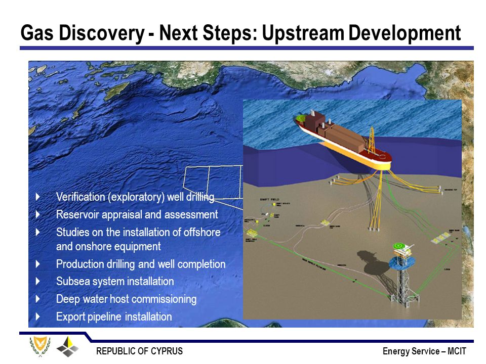 REPUBLIC OF CYPRUS Energy Service – MCIT Gas Discovery - Next Steps: Upstream Development Verification (exploratory) well drilling Reservoir appraisal