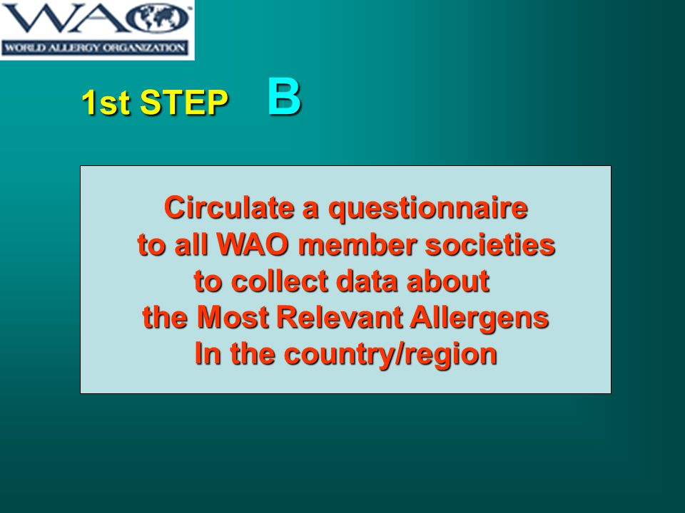 1st STEP B Circulate a questionnaire to all WAO member societies to all WAO member societies to collect data about the Most Relevant Allergens In the country/region