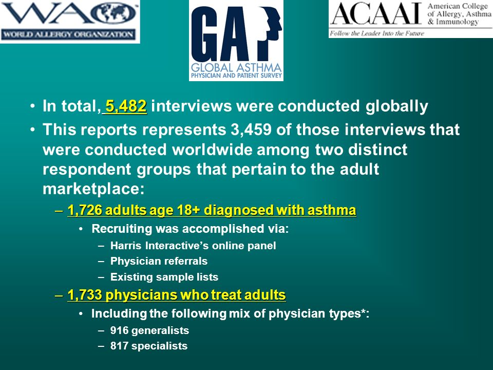 5,482In total, 5,482 interviews were conducted globally This reports represents 3,459 of those interviews that were conducted worldwide among two distinct respondent groups that pertain to the adult marketplace: –1,726 adults age 18+ diagnosed with asthma Recruiting was accomplished via: –Harris Interactives online panel –Physician referrals –Existing sample lists –1,733 physicians who treat adults Including the following mix of physician types*: –916 generalists –817 specialists