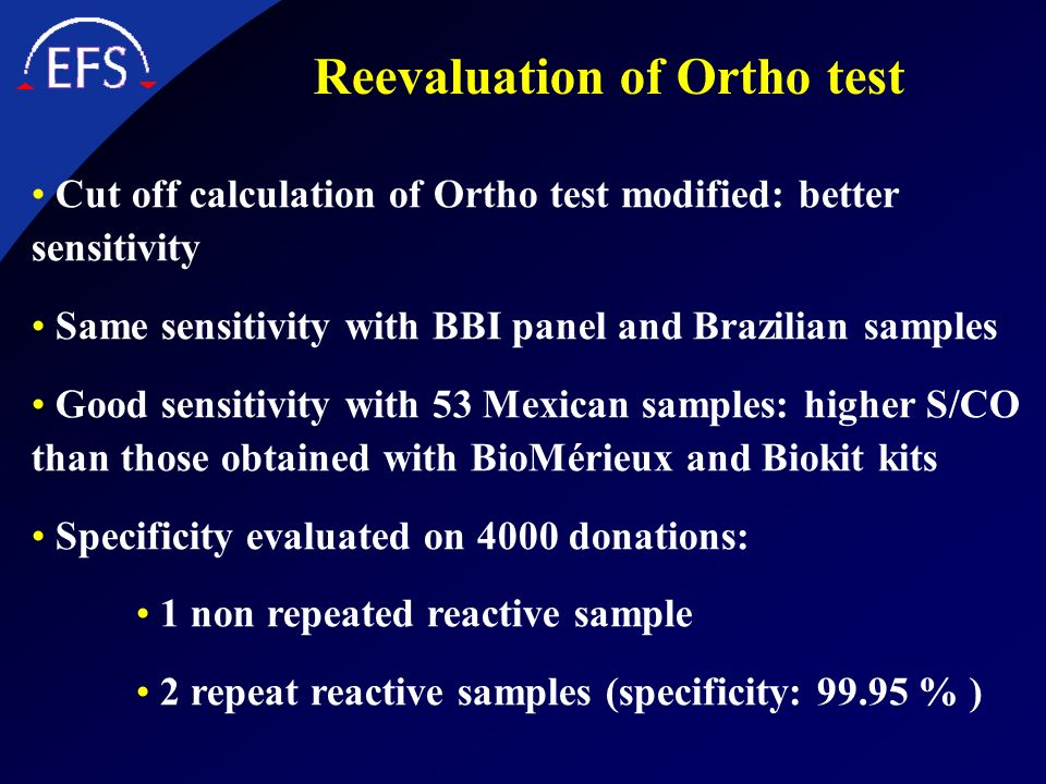 Reevaluation of Ortho test Cut off calculation of Ortho test modified: better sensitivity Same sensitivity with BBI panel and Brazilian samples Good s