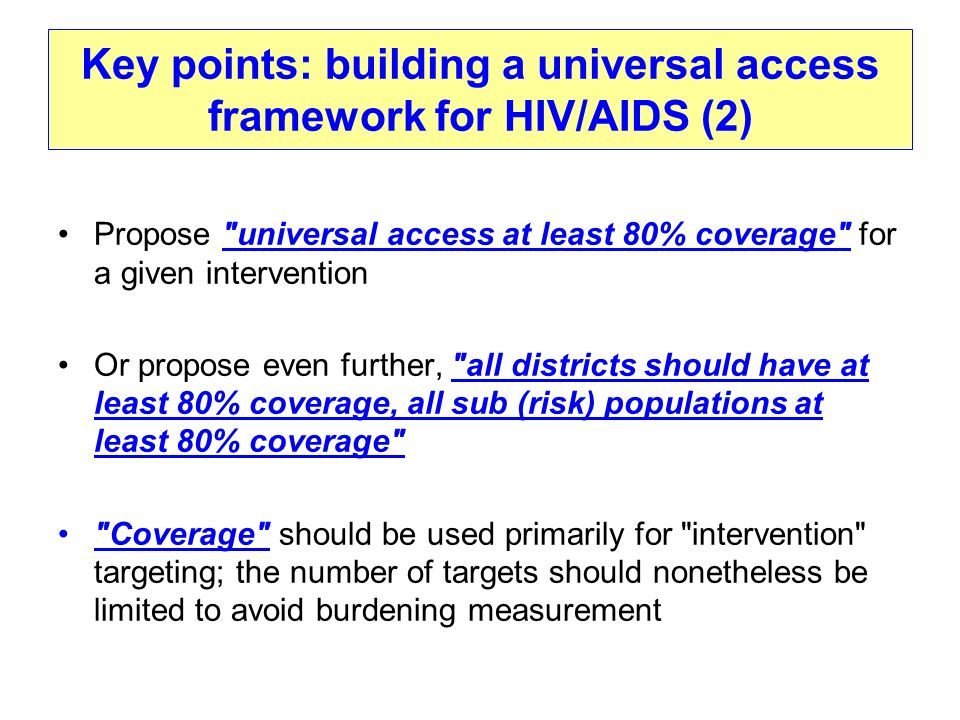 Key points: building a universal access framework for HIV/AIDS (2) Propose