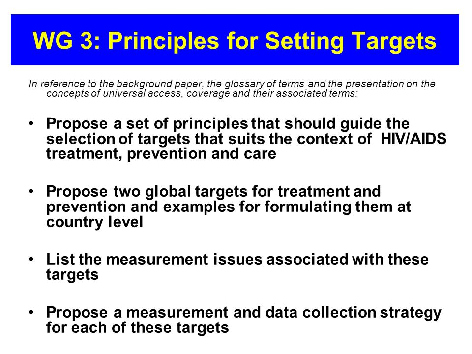 WG 3: Principles for Setting Targets In reference to the background paper, the glossary of terms and the presentation on the concepts of universal acc