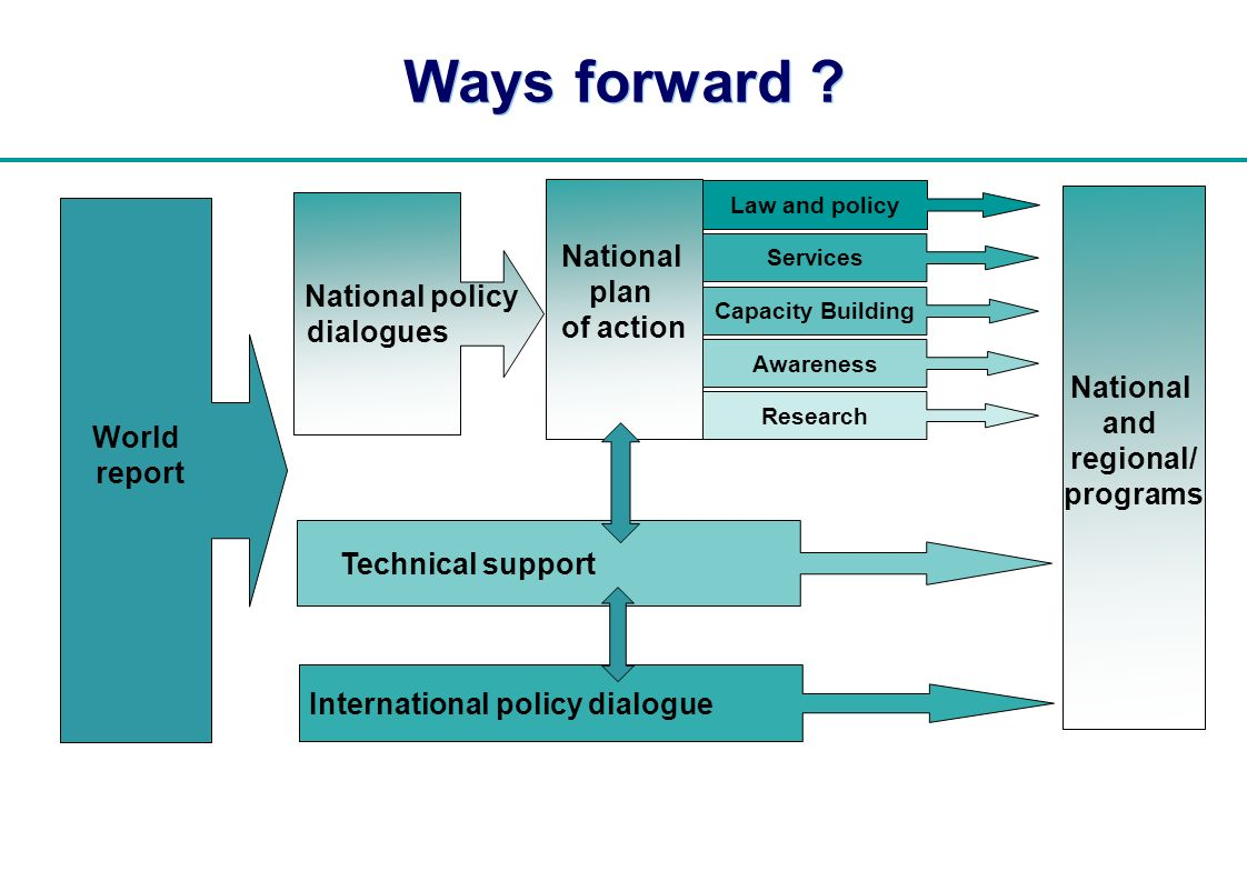 | National plan of action World report National and regional/ programs Ways forward .